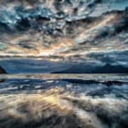 Last Light Isle Of Rum From Isle Of Eigg Art Print