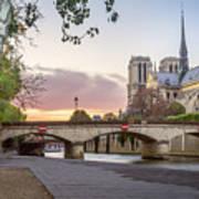 Last Light On Notre Dame De Paris Art Print