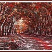 Late Autumn Avenue H A With Decorative Ornate Printed Frame. Art Print