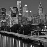 Late Night Philly Grayscale Art Print