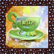 Latte Coffee Cup With Blue Dots Art Print