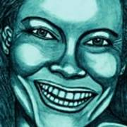 Laughing Girl In Blue 2 Art Print