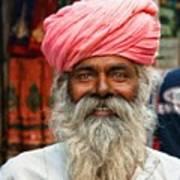 Laughing Indian Man In Turban Art Print