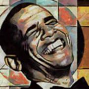 Laughing President Obama Art Print
