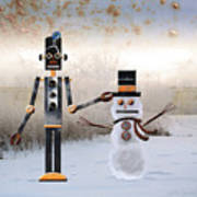 Laurence Builds A Snowman Art Print