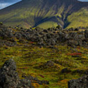 Lava Field And Mountain - Iceland Art Print