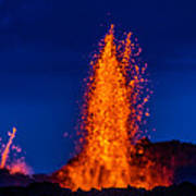 Lava Fountains At The Holuhraun Fissure Art Print