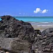 Lava Rocks At Haena Beach Art Print
