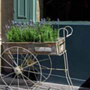 Lavender Flower Cart In Montmarte Paris Art Print