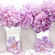 Lavender Peonies White Mason Jars - Romantic Shabby Chic Lavender Purple Peonies Mason Jars Art Print