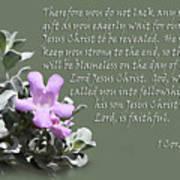 Lavender Sage Blossom I Cor. 1 V 7-9 Art Print