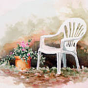 Lawn Chair With Flowers Art Print