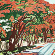 Lawson Avenue Flamboyants Art Print