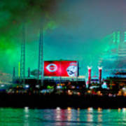 Laser Green Smoke And Reds Stadium Art Print