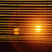 Lazy Summer Afternoon With Sunset View Through The Wooden Window Shades Art Print