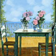 Le Rose E Il Balcone Art Print by Guido Borelli