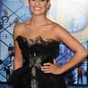 Lea Michele Wearing A Marchesa Dress Art Print by Everett
