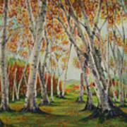 Leaning Birches Art Print by Charles Hetenyi