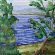 Leaning Tree By Lake Sacandaga Art Print