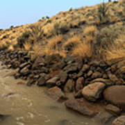 Learn To Swim, Creek Bed Quickly Filling With Water During Autumn Rainstorms In The High Desert Art Print