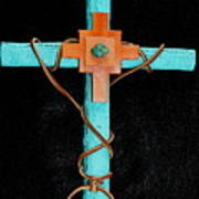 Leather And Stone Cross Art Print