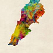 Lebanon Watercolor Map Art Print
