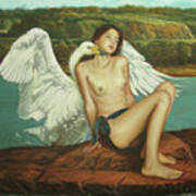 Leda And The Swan - Passionate Art Print