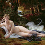 Leda And The Swan Art Print by Francois Edouard Picot