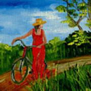 Ledy With The Bike Art Print