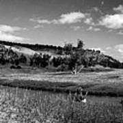 Legend Of The Bear Wyoming Devils Tower Panorama Bw Art Print