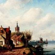 Leickert Charles A Village Along A River A Town In The Distance Art Print