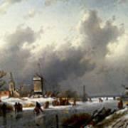 Leickert Charles Henri Joseph A Frozen Winter Landscape With Skaters Art Print