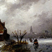 Leickert Charles Henri Joseph Figures On A Frozen Lake Art Print