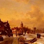 Leickert Charles Henri Joseph Winter And Summer Canal Scenes Scene  Art Print
