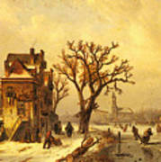 Leickert Charles Skaters In A Frozen Winter Landscape Art Print