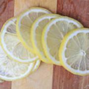 Lemon Slices On Cutting Board Art Print