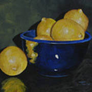 Lemons And Blue Bowl IIi Art Print