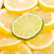Lemons And One Lime Abstract Art Print