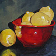 Lemons And Red Bowl IIi Art Print