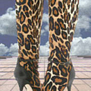 Leopard Boots With Ankle Straps Art Print