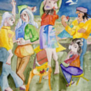 Les Demoiselles Of Santa Cruz V3 Art Print by Susan Cafarelli Burke