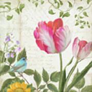 Les Magnifiques Fleurs IIi - Magnificent Garden Flowers Parrot Tulips N Indigo Bunting Songbird Art Print