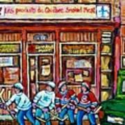 Les Scenes De Pointe St Charles Les Produits Smoked Meat Avec Partie De Hockey Art Print