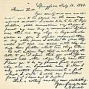Letter From Abraham Lincoln To Alden Art Print