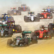 Lewis Hamilton Leads The Pack Art Print