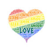 Lgbt Rainbow Hearth Flag Illustrated With Love Word Of Different Languages Art Print