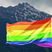 Lgbtq Rainbow Flag With Snowy Mountain Background View Art Print