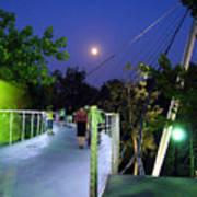 Liberty Bridge At Night Greenville South Carolina Art Print