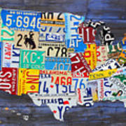 License Plate Map Of America Recycled Vintage Art On Blue Reclaimed - Us-map-with-license-plates