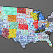 License Plate Map Of The United States Edition 2016 On Steel Background Art Print